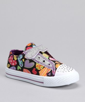 QQ Girl Black Heart Peace Sneaker