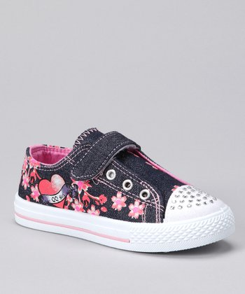 QQ Girl Denim Floral Peace Sneaker