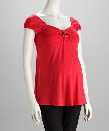 Coral Buckle Maternity Top - Women