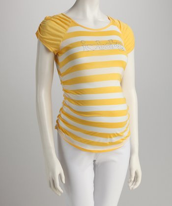 Yellow Stripe Ruched Maternity Top - Women