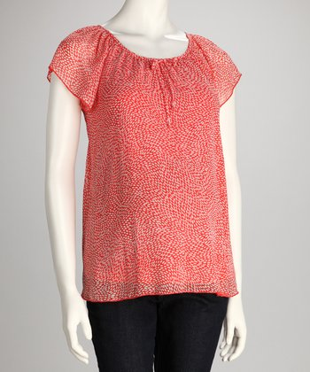 Coral Maternity Angel-Sleeve Top