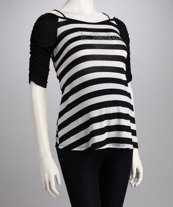 Black Stripe 'I Heart Baby' Maternity Tee
