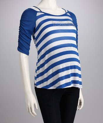 Blue Stripe 'I Heart Baby' Maternity Tee