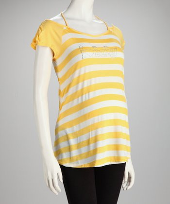 Yellow & White Stripe 'I Heart Baby' Maternity Top - Women
