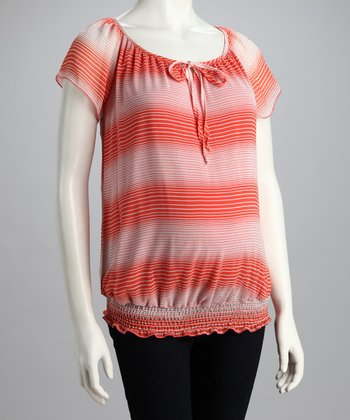 Peach Stripe Maternity Top