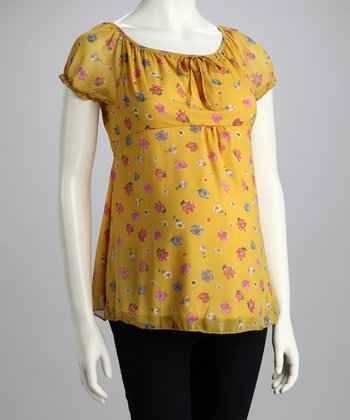 Yellow Medium Floral Maternity Top