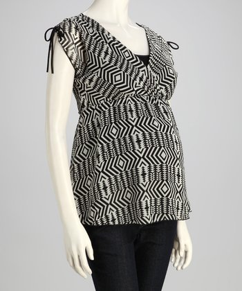 Gray Abstract Maternity Surplice Top