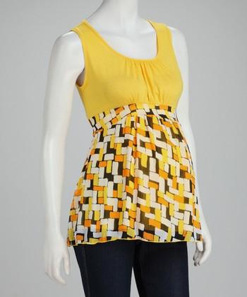 QT Maternity Yellow Geometric Maternity Tank - Women