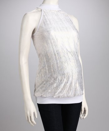 White Shimmer Maternity Sleeveless Top - Women