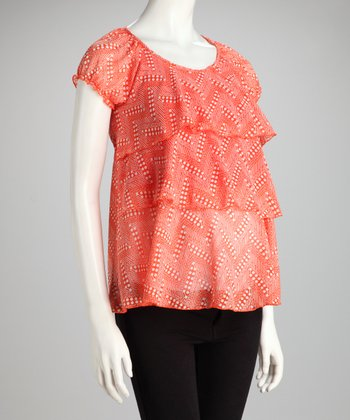 Orange Tiered Maternity & Nursing Top