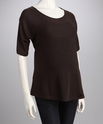 Brown Flutter Maternity Top