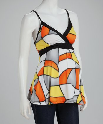 Orange Geometric Maternity Surplice Tank - Women