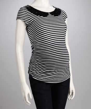 Black Stripe Peter Pan Collar Maternity Tee - Women