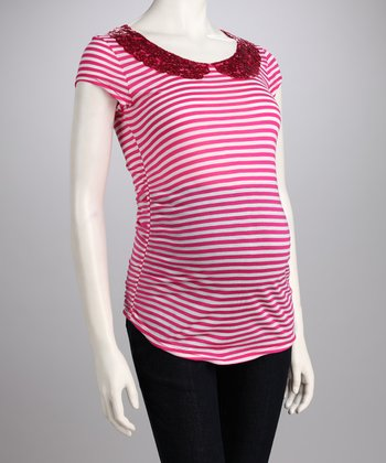 QT Maternity Pink Stripe Peter Pan Collar Maternity Tee