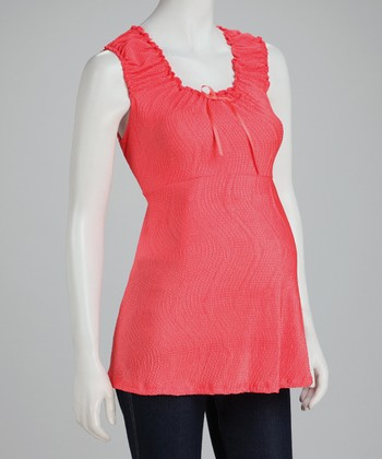 Orange Ribbon Maternity Sleeveless Top