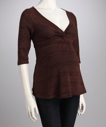 Brown Shimmer Stripe Knotted Maternity Top