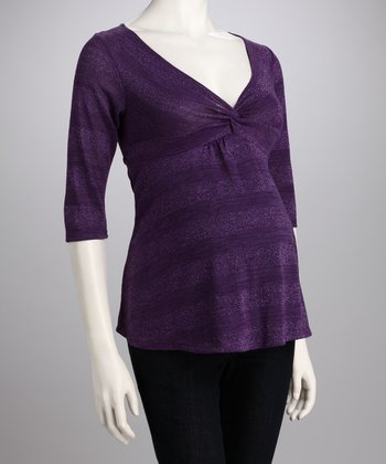 Purple Shimmer Stripe Knotted Maternity Top