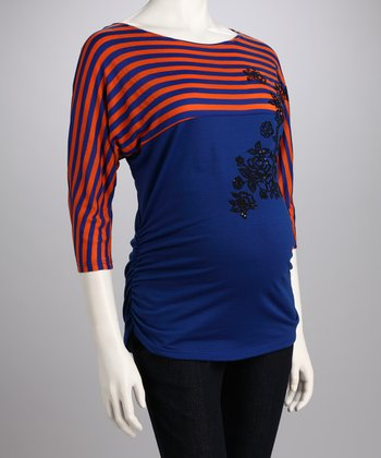 Royal Blue Stripe Floral Maternity Tee