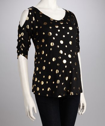 Black & Gold Dot Cutout Maternity Top