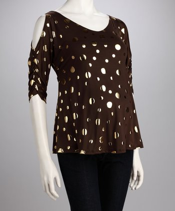 Brown & Gold Dot Cutout Maternity Top