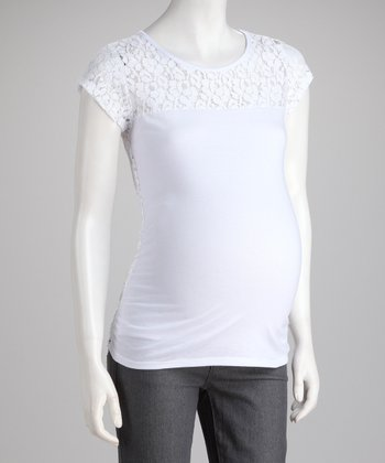 White Lace Maternity Top