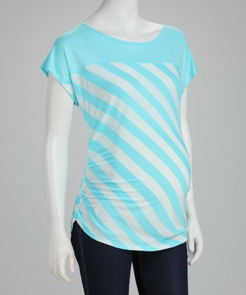 Maternity Blue Stripe Maternity Top