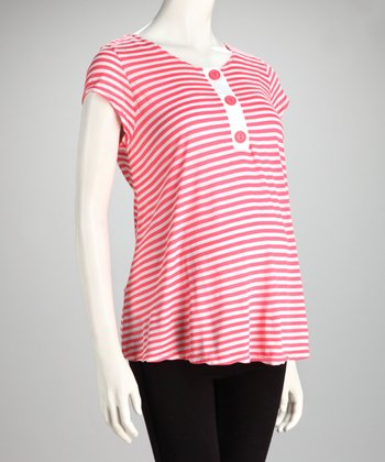 Coral Stripe Triple Button Maternity Top
