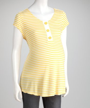 Yellow Stripe Maternity Henley - Women