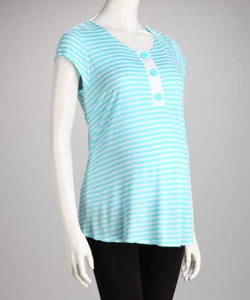 Turquoise Stripe Triple-Button Maternity Top - Women
