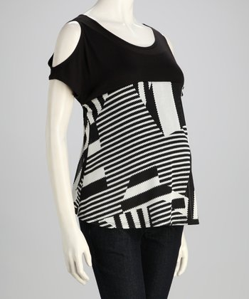 Black & White Geometric Maternity Cutout Top