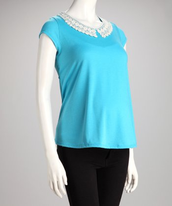 Turquoise Lace-Collar Maternity Top