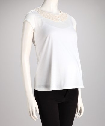 White Lace-Collar Maternity Top