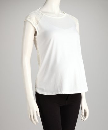 Ivory Crochet-Back Maternity Top - Women