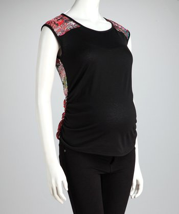 Fuchsia & Black Abstract Maternity Sleeveless Top