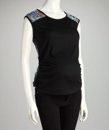 Turquoise & Black Abstract Maternity Sleeveless Top