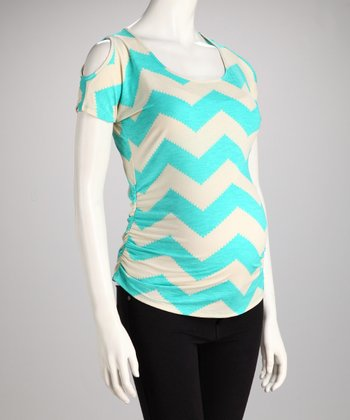 Aqua Zigzag Maternity Cutout Top