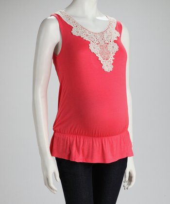 Coral Crocheted Maternity Sleeveless Top