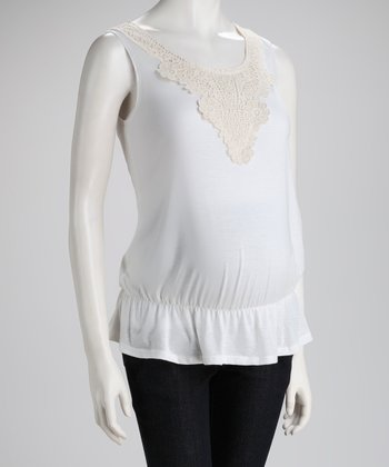 White Crocheted Maternity Sleeveless Top - Women