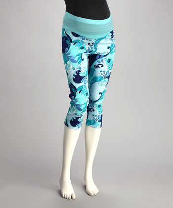 QT Aqua Floral Mid-Belly Maternity Capri Pants
