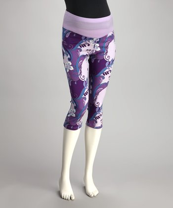 QT Maternity Purple Floral Mid-Belly Maternity Capri Pants