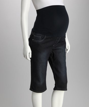 Dark Blue Contrast-Stitch Over-Belly Maternity Bermuda Shorts