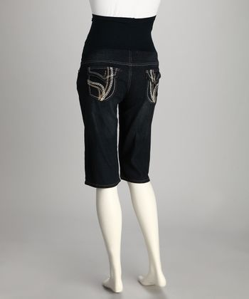 QT Dark Wash Denim Over-Belly Maternity Bermuda Shorts