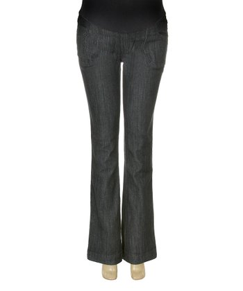 Dark Two-Button Over-Belly Maternity Flare Jeans