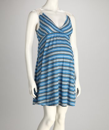Blue Stripe Maternity Dress - Women