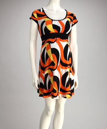 Orange Geometric Maternity Dress