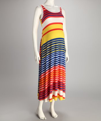 Orange & Yellow Stripe Maternity Maxi Dress