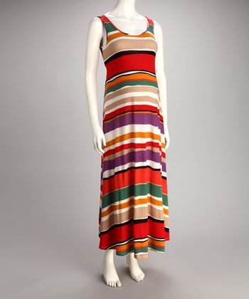 Orange & Green Stripe Maternity Maxi Dress