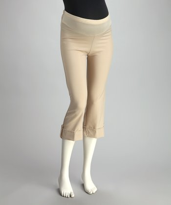 Khaki Cuffed Mid-Belly Maternity Capri Pants