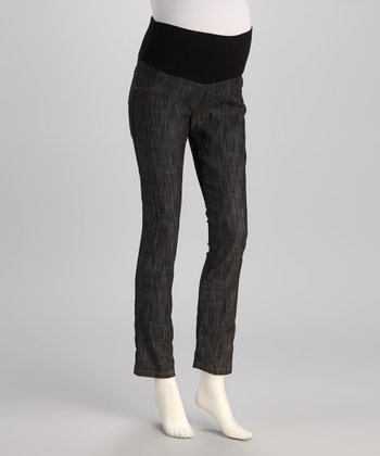 Black Brushed Mid-Belly Maternity Skinny Jeans - Plus