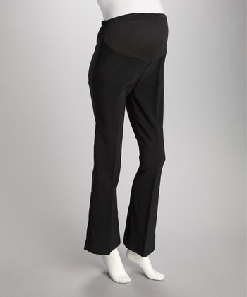 Black Over-Belly Maternity Bootcut Pants